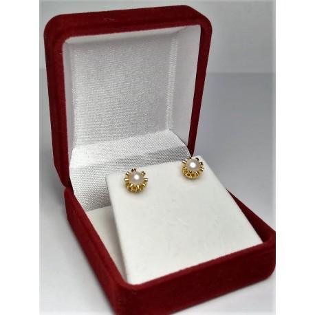 Aros de Oro Modelo Cuello de payaso Perlas cultivadas 4mm
