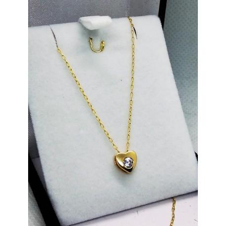 Punto de Luz Corazón mas cadena en Oro 18k