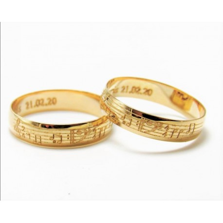 Argollas de Matrimonio Oro 18k Pentagrama y sus notas musicales