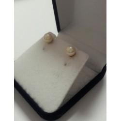Aros de Oro 18k ,perlas Cultivadas Redondas 5mm