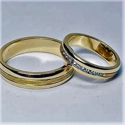 Argollas de Matrimonio Oro 18kt con Circones