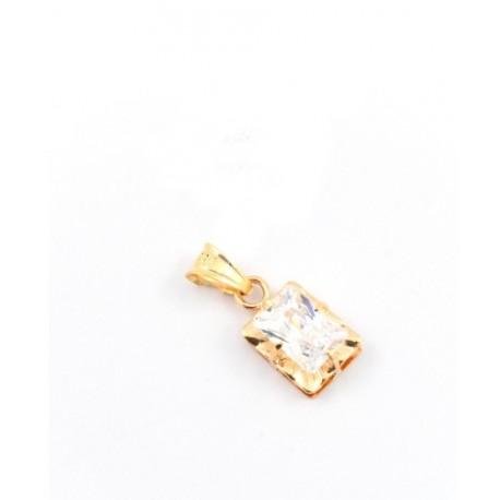 Colgante Chaton rectangular Oro 18k