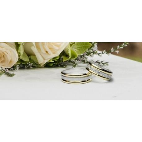 Argollas de Matrimonio Plata con Oro Amarillo y circones