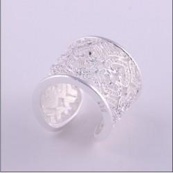 Anillo ajustable con cristales Rodinado en Plata