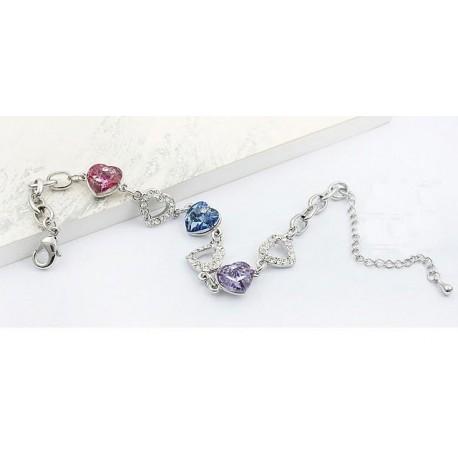 39393d7a4356 Pulsera 3 corazones con Cristal Swarovski Element