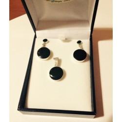 Conjunto plata 950 y piedra natural Onix