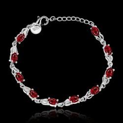 Pulsera plata 925 con cristales color Rubi
