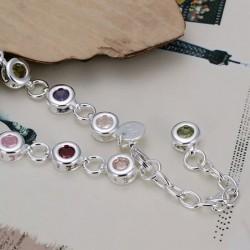 Pulsera plata 925 con cristales  modelo circulos