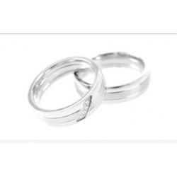 Argollas Matrimonio Oro Blanco Modelo 1 Con 4 diamantes