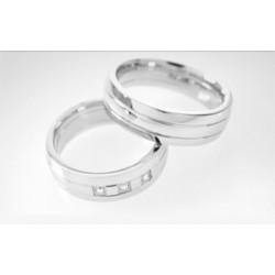 Argollas Matrimonio Oro Blanco Modelo 2  Con 3 diamantes