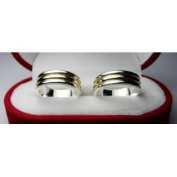 Argollas de Matrimonio Bicolor Plata con Oro 18K