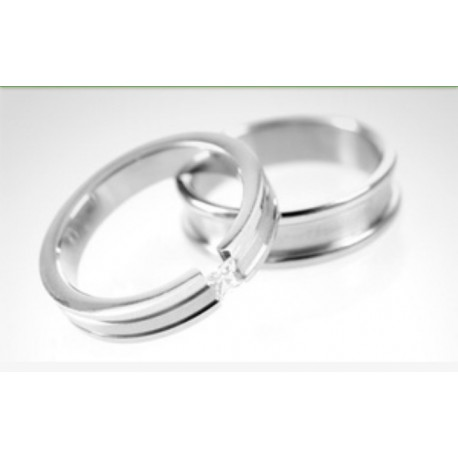 76c12976e9e4 Argollas de matrimonio en oro blanco modelo Toda la Vida con diamante de 10  puntos