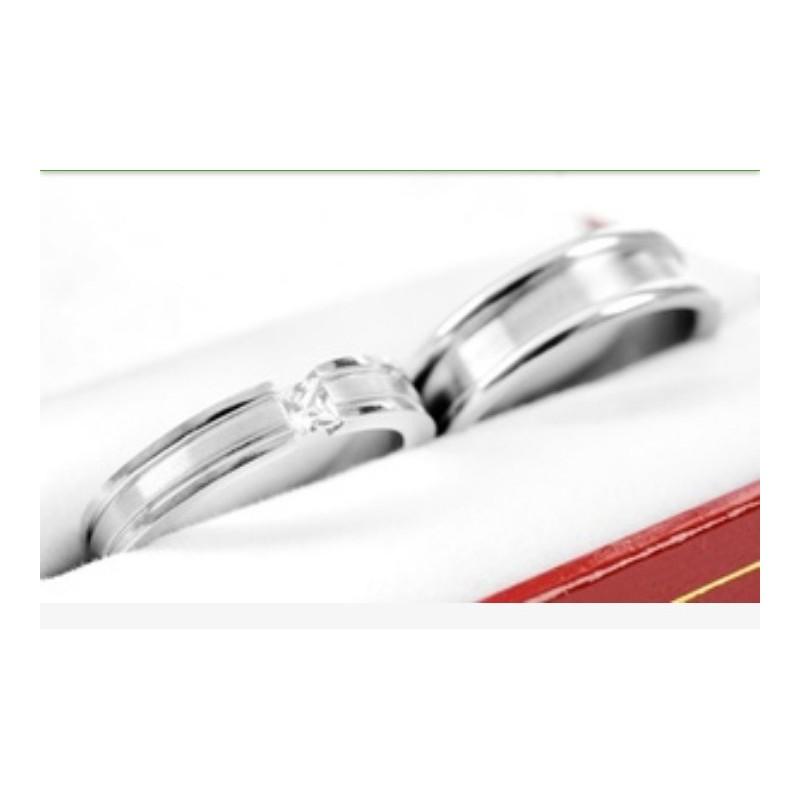 dc0a7b1b5a2e ... Argollas de matrimonio en oro blanco modelo Toda la Vida con diamante  de 10 puntos ...