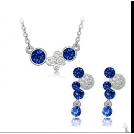 conjunto crista Swarovski elements Mariposa azul