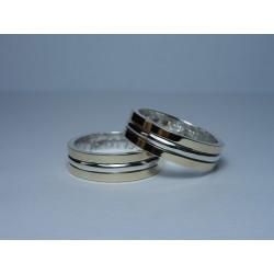 Argollas de Matrimonio Media Caña Doble Oro 18k y Plata