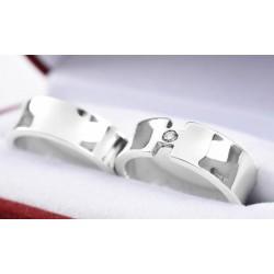 Argollas de matrimonio en plata fina 980 diseño 4
