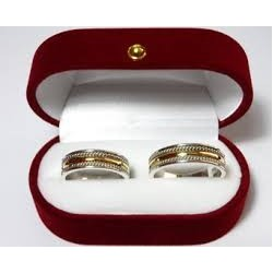 Par de Argollas de Matrimonio Bicolor Plata con Oro 18K