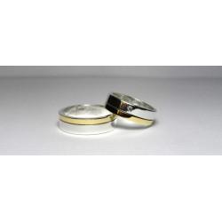 Argollas de Matrimonio Oro Blanco y Oro Amarillo Con Diamante