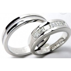 Argollas Oro Blanco con Diamantes corte Prince