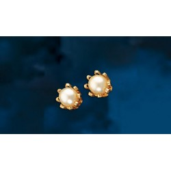 Aros de Oro Modelo Cuello de payaso Perlas cultivadas 7