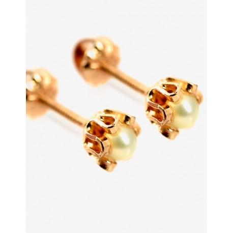 Aros de Oro Modelo Cuello de payaso Perlas cultivadas 3mm