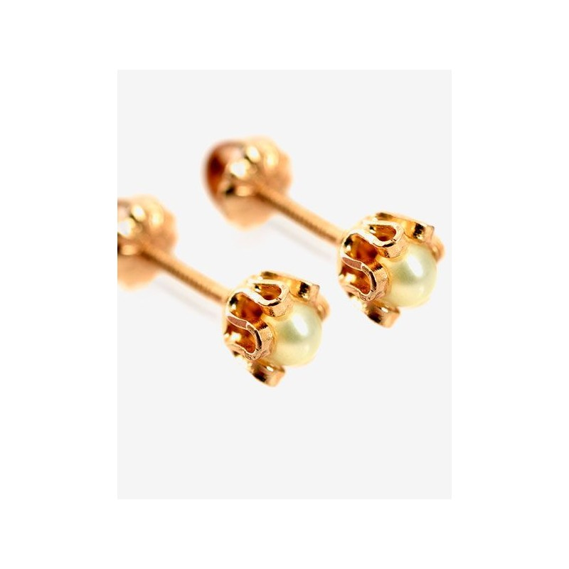 b958d9557e1d Aros de Oro Modelo Cuello de payaso Perlas cultivadas 3mm