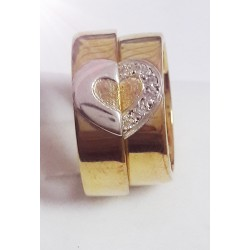 Argollas de Matrimonio Oro Amarillo y Blanco 18k con Diamantes