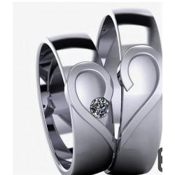 Argollas Corazon en Oro Blanco1 Diamante