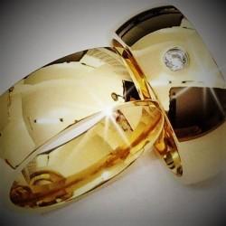 Argollas De Oro medias cañas Ancha  Brillo Espejo
