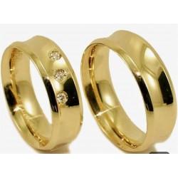 Argollas de Matrimonio Diseño Concava en Oro 18k 3 Circon