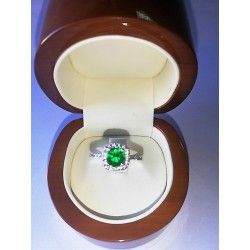 Anillo Compromiso Princesa   Helena    Oro Blanco  y Diamantes