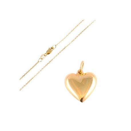 Cadena de oro mas Corazón 18k