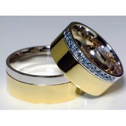 Argollas De Matrimonio en Oro Amarillo 18k y Oro Blanco 18k