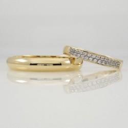 Argollas de Matrimonio en Oro 18 con Doble Cintillo Novia