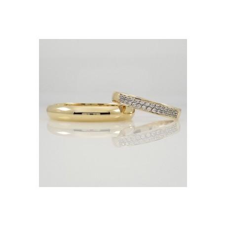 Argollas de Matrimonio en Oro 18 con medio Cintillo Novia