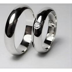 Argollas de Plata 950 con circon (anillo Novia