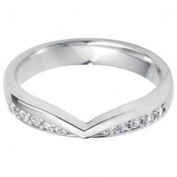 Anillo  de Oro Blanco 18k Diseño Moderno Con Diamantes