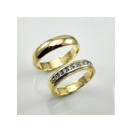 Argollas de Oro 18k con anillo Novia medio cintillo