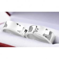 Argollas de Matrimonio Diseño Concava en Oro Blanco 18k