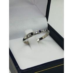 Anillo De Compromiso Platino Con Diamantes y Zafiros