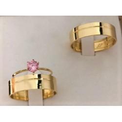 Trio de anillos de Matrimonio en Oro 18k