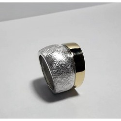 Anillo Bicolor Plata Fina -Oro 18k exclusivo